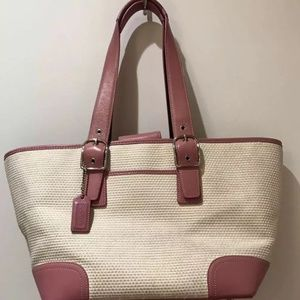 Coach Bags - Coach Cream Weaved Pink Leather Tote Bag